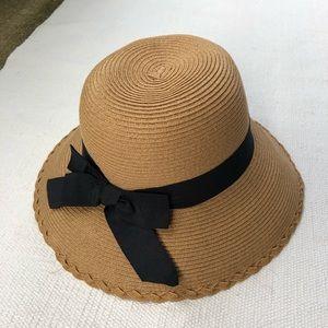 "Super cute wide brim ""straw"" hat with black bow"